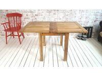 Farmhouse Extending Rustic Dining Kitchen Table 2-4 Persons Petite Square Leg