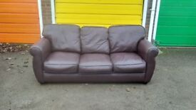 3-seater sofa, in brown leather