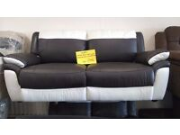 Nearly New Half Black Half White 3 Seater + 2 Seater Sofas For Sale