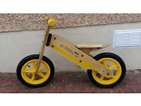 Good quality balance bike. Scruffs and scrapes as expected. Tour de France decor. Pneumatic Tyres.