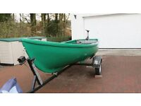 14ft Fishing Rowing Boat and trailer