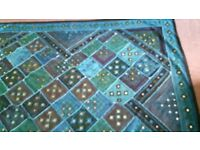 Indian throw/bedspread/wall hanging.Double size.Blue/green with mirrors.as new
