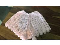 Hand knitted poncho style shawl 0-12 months