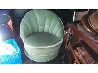 ABSULUTELY STUNNING ART DECO BEDROOM CHAIR IN GREEN SHELL DESIGN