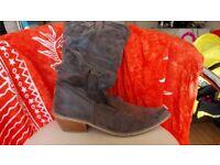 ladies brown cowboy boots