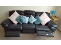 Black leather 3 seater and single electric reclining chair