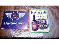Vintage beer metal signs