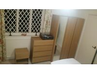 Bedroom furniture matching set 3 door mirrored wardrobe 2 chest of drawers and 3 side tables
