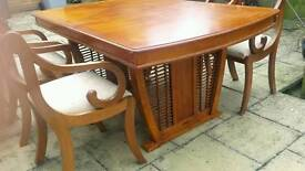 Extendable Vietnamese table and 4 chairs
