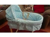 *REDUCED £25* Beautiful Baby Blue Moses Basket And Rocking Stand