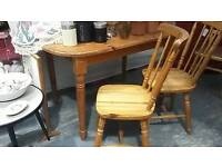 Pine kitchen table and 2 farmhouse chairs