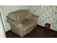 Elegant 2 seater sofa and 2 matching armchairs with cushions