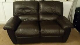 X2 matching reclining 2 seater brown leather sofas