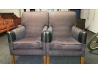 Pair of high back checked armchairs