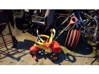 Kids trike with adult pushalong controls