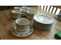7 x Tea cups with matching plates