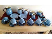 50 piece Babbacombe pottery polka dot blue domino tea set