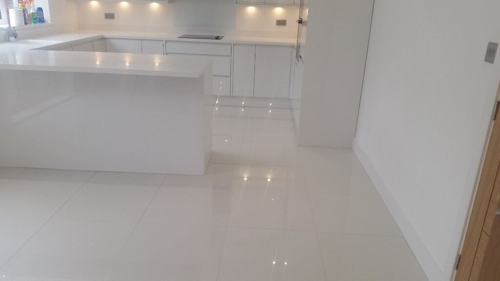 White High Gloss Luxury Porcelain Tiles 60cm X 60cm X 9mm