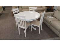Ace Circular Solid Wood Dining Table & 4 Coast Dining Chairs in White Can Deliver