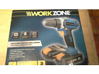 Cordless 18v battery DRILL brand NEW in sealed BOX, 2 Samsung batteries, bits etc