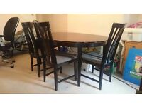 Solid Wooden Dining Table and Chairs round to oval - ** extendable small to large **