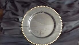 Glass Under plates Set of 6 Gold Bead Trim Used
