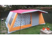 6 person tent,with 3 sleeping pods,and indoor social area