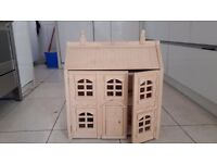 Wood Chad Valley Dolls House with furniture