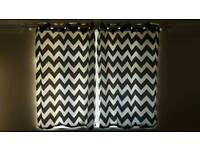 Black/white patterned curtains (2 pairs)
