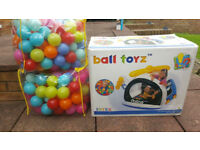 Kids Inflatable Police Helicopter Ball Pit with 2 bags of Soft Plastic Balls