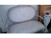 Vintage French Shabby Chic Regency Settee Bench Seat