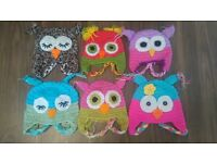 Job Lot of 17 Baby Owl Hats. Knitted winter baby hats, fun beanie hats. Wholesale kids hats