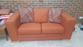 2 x 2 seater sofa. 5 years old terracotta colour. Very good condition. Buyer collects