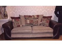 FABRIC + LEATHER SOFAS (3 SEATER EACH) x2