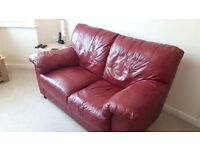 Dark red leather sofa's 2 seater and 3 seater for sale