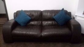 Italian Leather Sofas (3 Seater + 2 Seater + Footstool)
