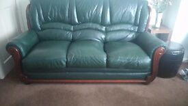 Green Leather 3 Piece Suite.Good condition. 5 years old. Selling as downsize in the near future