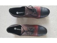 RIEKER - REMONTE BLACK, BROWN AND RED LEATHER SHOES SIZE 8/EU 42 BRAND NEW IN BOX
