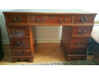 Regency Style Mahogany Solid Wood Green Leather Captain's Writing Desk & Chair