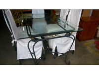 6 seater metal framed glass top dining table (delivery available)