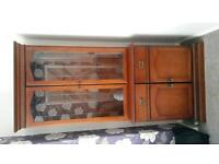 cherrywood dining set, display cabinet, sofa