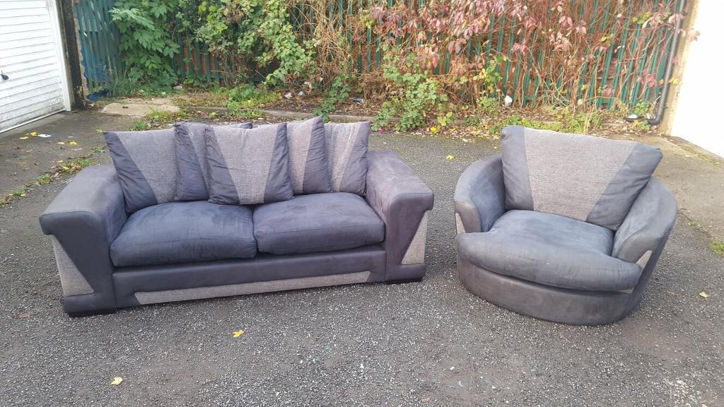 Black and grey 3 seater sofa and cuddlier chair for two