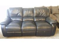 Used Real Leather Recliner 3 Seater Free Local Delivery