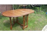 Large pine wooden folding dining table kitchen table gateleg table