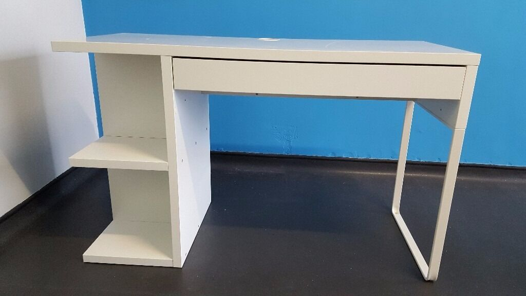 White Ikea Desk With Side Shelves And Drawer