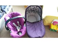 mamas and papas sola carrycot in plum purple and cybex atom car seat Leeds LS12