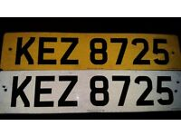KEZ 8725 number plate nothing to pay put straight on your car even plates included grab a bargain