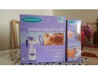 Lansinoh manual breast pump and 4 bottles