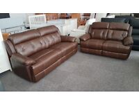 Preston Brown Leather 3 Seater & 2 Seater Sofas Can Deliver