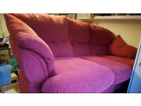 3seater red fabric sofa